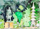 聖人像と石塔